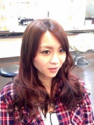 ピンクブラウン  ツートン 巻き髪