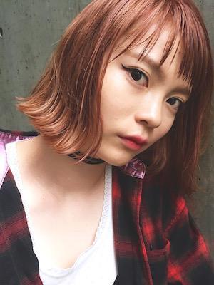 YUMA/韓国人風きりっぱなし外はねボブ×オレンジカラー
