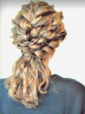 hairarrange◇編み込み&ロープ編みのポニーヘア