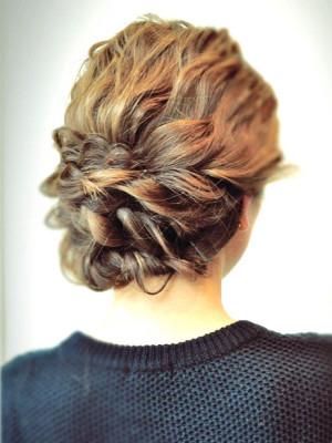 hairarrange◇編み込み&ロープ編みアップヘア