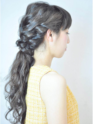 hairarrange◇ロープ編みのポニーヘア