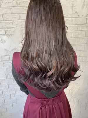 ピンクパープルグラデーションカラー 裾ブリーチカラー