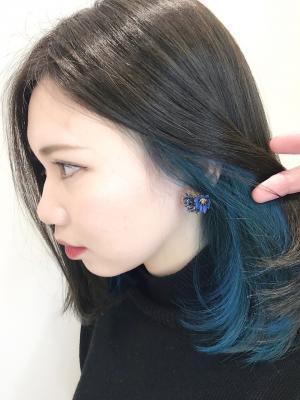ロブ×インナーカラーブルー☆ 担当 宍戸 直樹