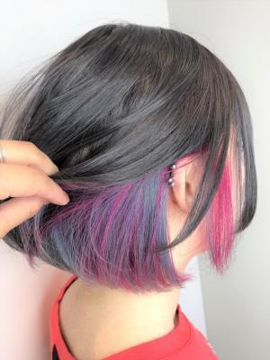 ピンク+ブルーインナーカラー☆黒田