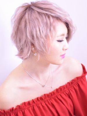 ホワイトピンク_hair make FOX