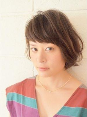 耳かけカールパーマ短い前髪ショートボブ【表参道/カラー/】