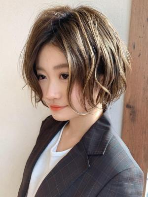 小顔ショート/ニュアンスパーマ