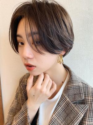 小顔ショート/毛先パーマ