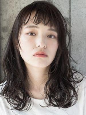 色っぽ黒髪☆大人セミウェットミディ☆