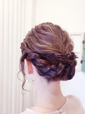 結婚式♪編み込みまとめ髪