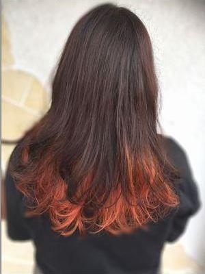 《オシャレ☆》オレンジインナーカラー