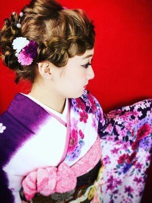 《着付け》前髪編み込みオールアップ☆