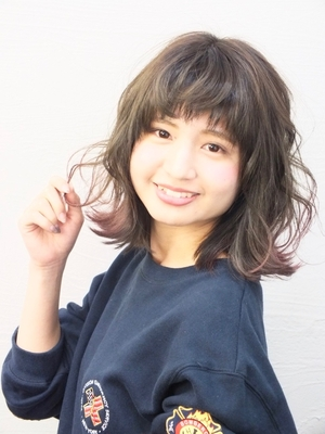 グレージュ×ピンク裾カラー  A【saki】