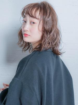 insi中山☆コーラルブラウン×波ウェーブミディ☆