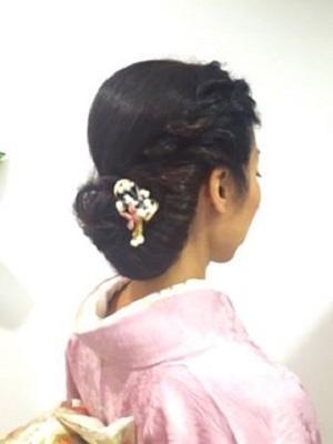 ミセスの和装スタイル~変わり結び&ツイスト編みのまとめ髪