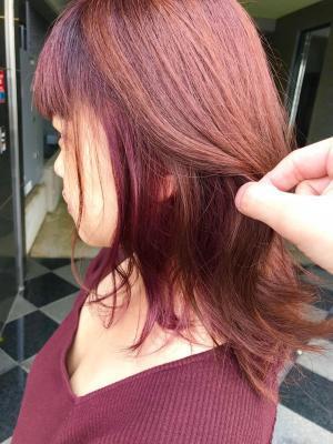 カッパーブラウン&ピンクのインナーカラーの欲張りスタイル(^