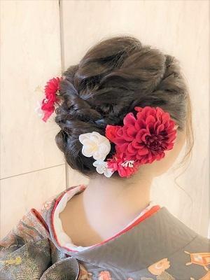 【成人式・卒業式】綺麗にまとめたツイスト編み込みヘア