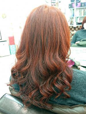 天然100%ヘナ髪にデジタルパーマ(高級ヘナ染め髪)