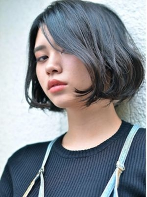 CERISIER7黒髪程よい抜け感◎セミウェットボブ