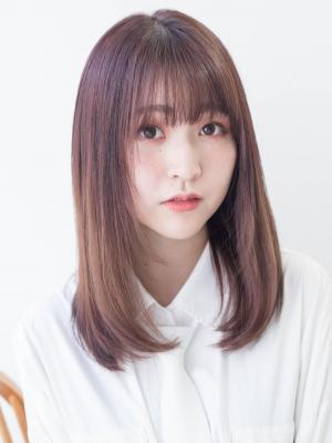 顔まわりのカット×ピンク☆可愛いストレート