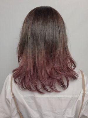 口コミ パープルピンクが可愛い、毛先グラデーションカラー