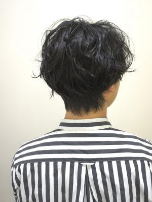 メンズパーマ×サイドグラデーション×黒髪