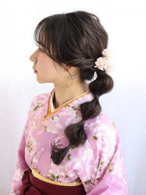 【卒業式 着物×袴アレンジヘアセット】