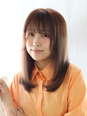 nami☆ココアブラウン×【前髪】シースルーフェザーバング