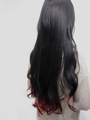 黒髪グラデーションカラー×レッド