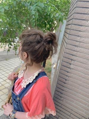 ヘアカラー +お団子アレンジ