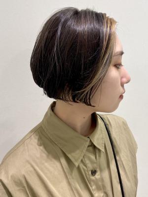 前髪インナーカラーボブ