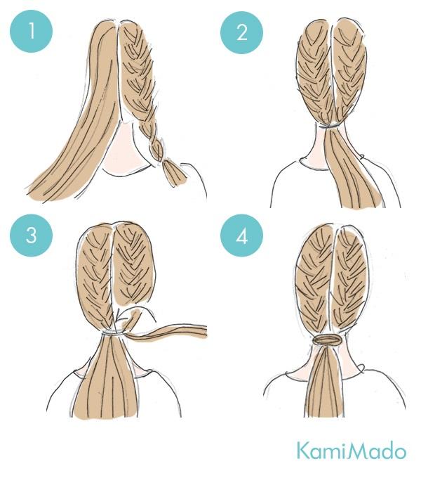 3分簡単!三つ編みひとつまとめヘアアレンジ【イラスト付き】