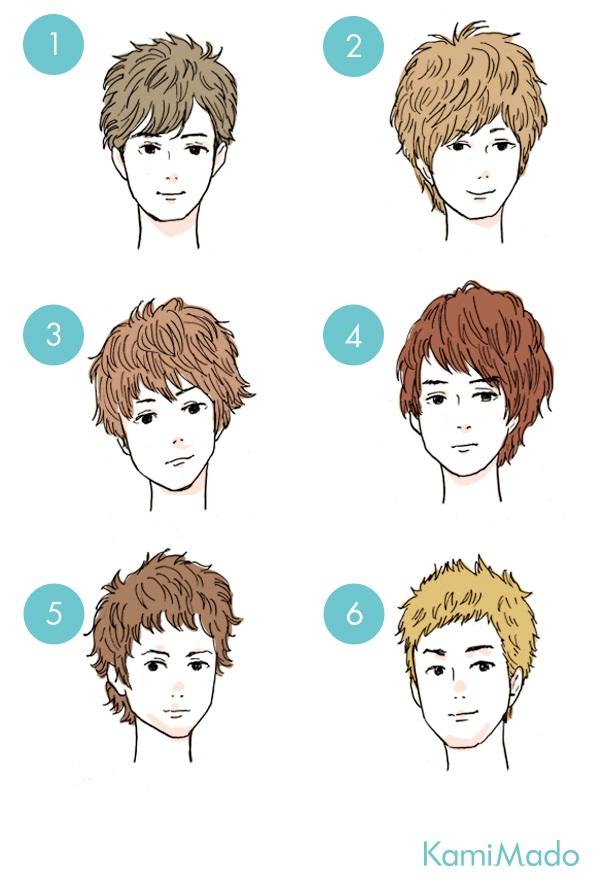 男性・メンズのタイプ別流し前髪・斜めバング【イラスト付き】