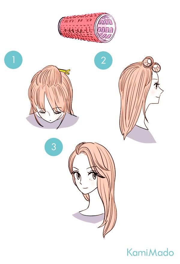 マジックカーラーで作る!簡単かきあげ前髪【イラスト付き】