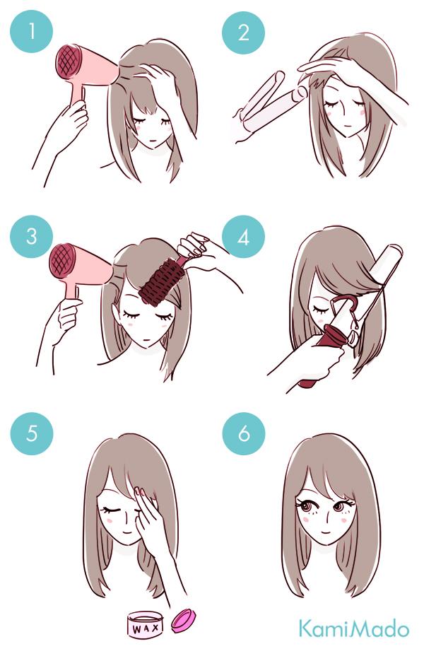 簡単☆流し前髪で小顔効果をGET!【イラスト付き】