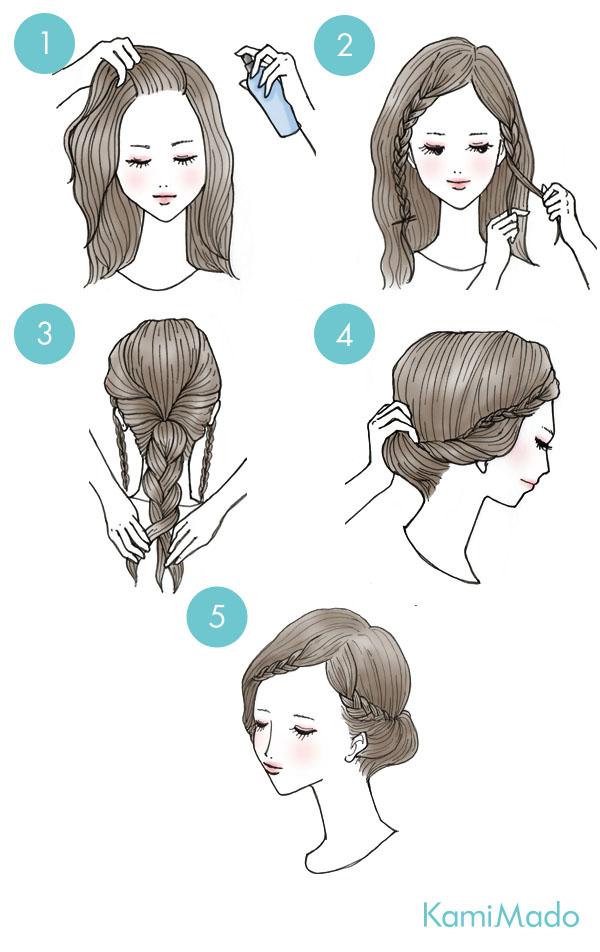簡単なのに凝って見えるプリンセスアップイラスト付きー髪のお悩みや