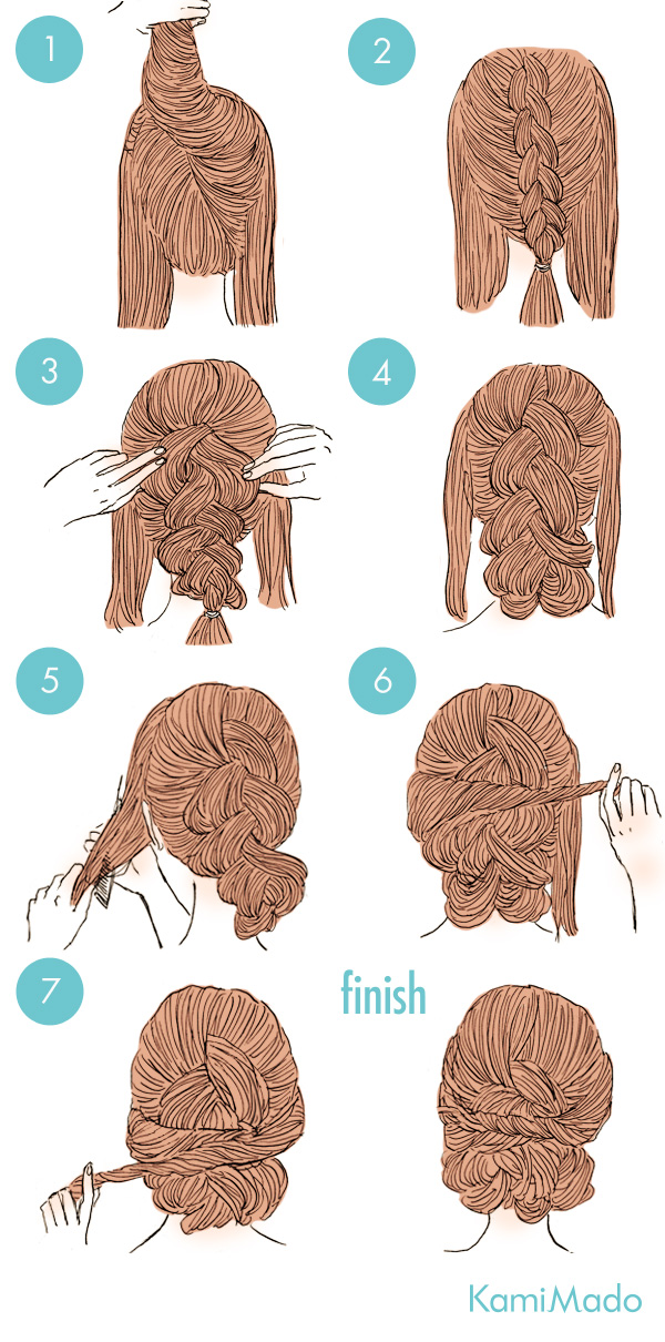 実は超簡単!?三つ編みで出来る海外風まとめ髪アレンジ【イラスト付き】