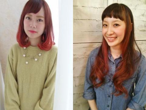 髪型に赤みをプラスしたアプリコットカラーで秋らしく♪