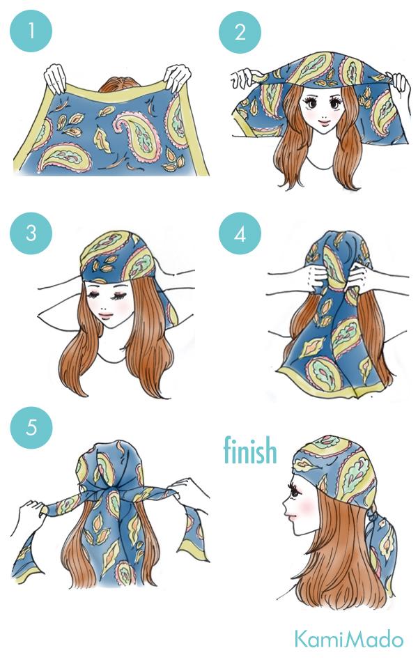 時短でお洒落に♪スカーフを使ったヘアアレンジ2【イラスト付き】