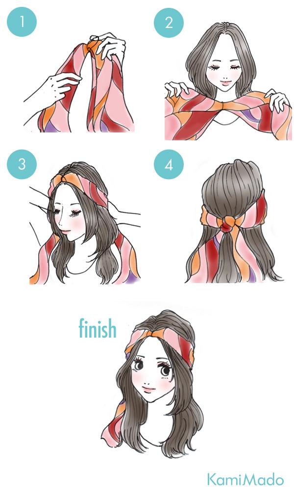 時短でお洒落に♪スカーフを使ったヘアアレンジ3【イラスト付き】
