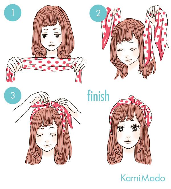 ダウンヘアもキュート♪スカーフを使ったヘアアレンジ6【イラスト付き】