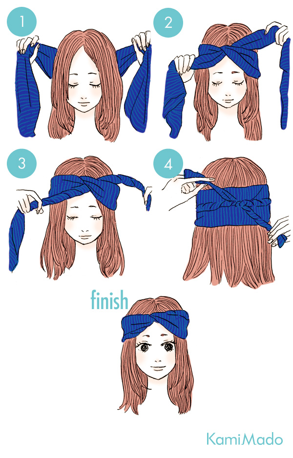 ヘアバンド要らず!スカーフを使ったヘアアレンジ7【イラスト付き】