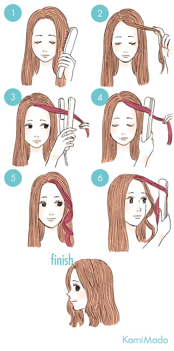 お洒落な波ウェーブ前髪の作り方【イラスト付き】